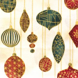Metallic Christmas Ornaments - Beige