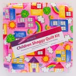 Pink House Shaggy Quilt Kit - Front