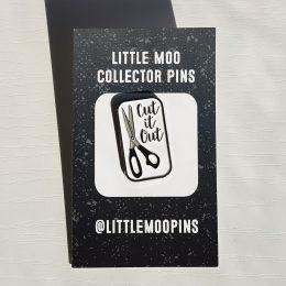 Cut It Out Pin - White