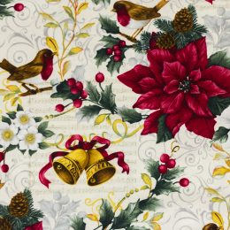 Poinsettia Birds Bells - Ivory