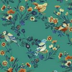 Birds and Flowers - Mid Blue