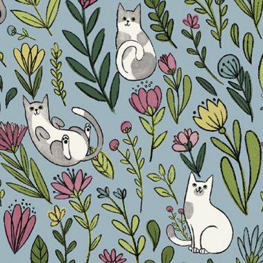 Cats in the Garden - Blue