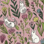 Cats in the Garden - Pink