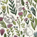Cats in the Garden - White
