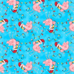 Flamingos With Lights - Blue